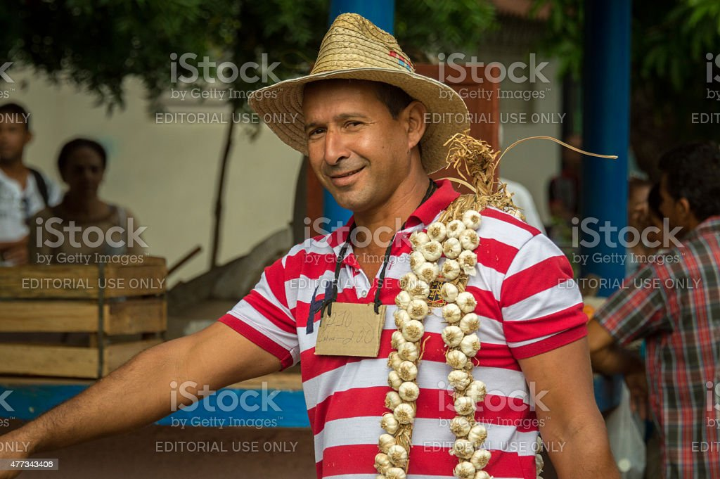Vendor on a market in Cuba stock photo