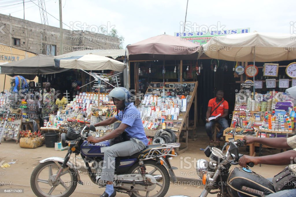 Vendor selling Goods in in Lomé, Togo, West Africa stock photo