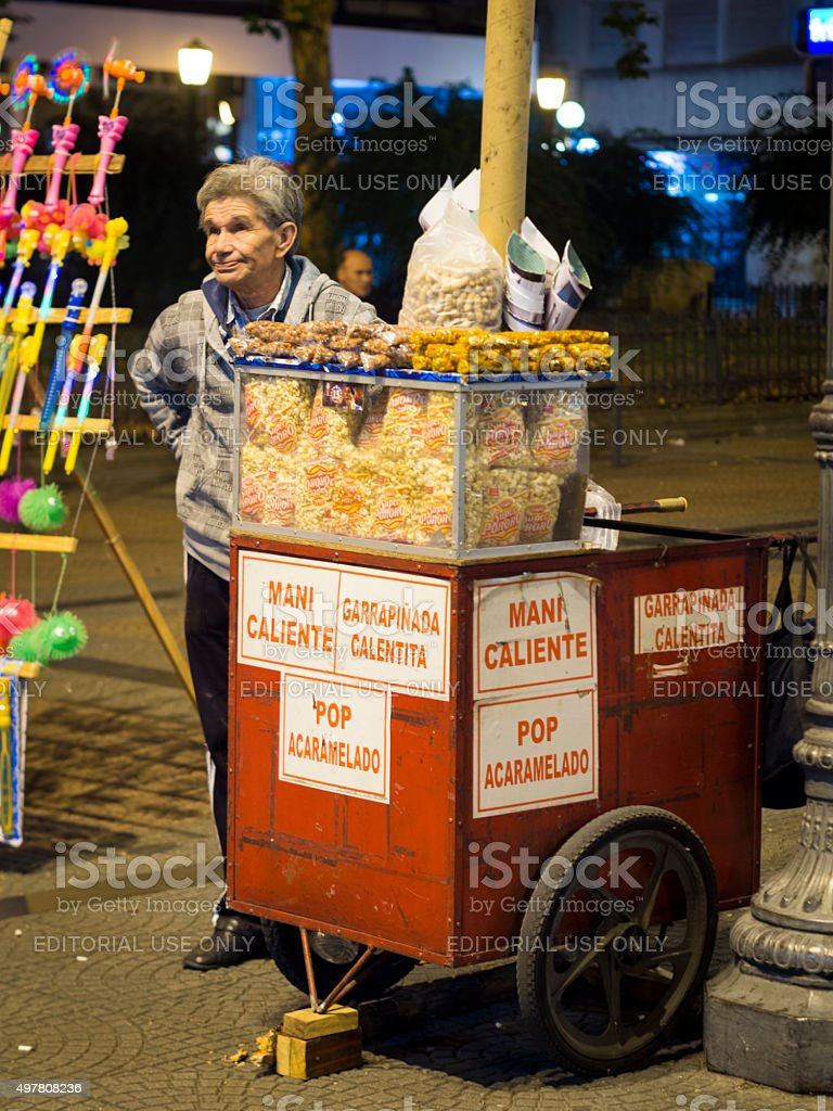 Vendor selling nuts during the carnaval in Montevideo, Uruguay stock photo