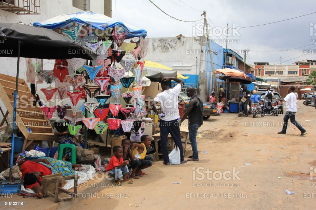 Vendor selling sexy underwear in Lomé, Togo, Africa stock photo