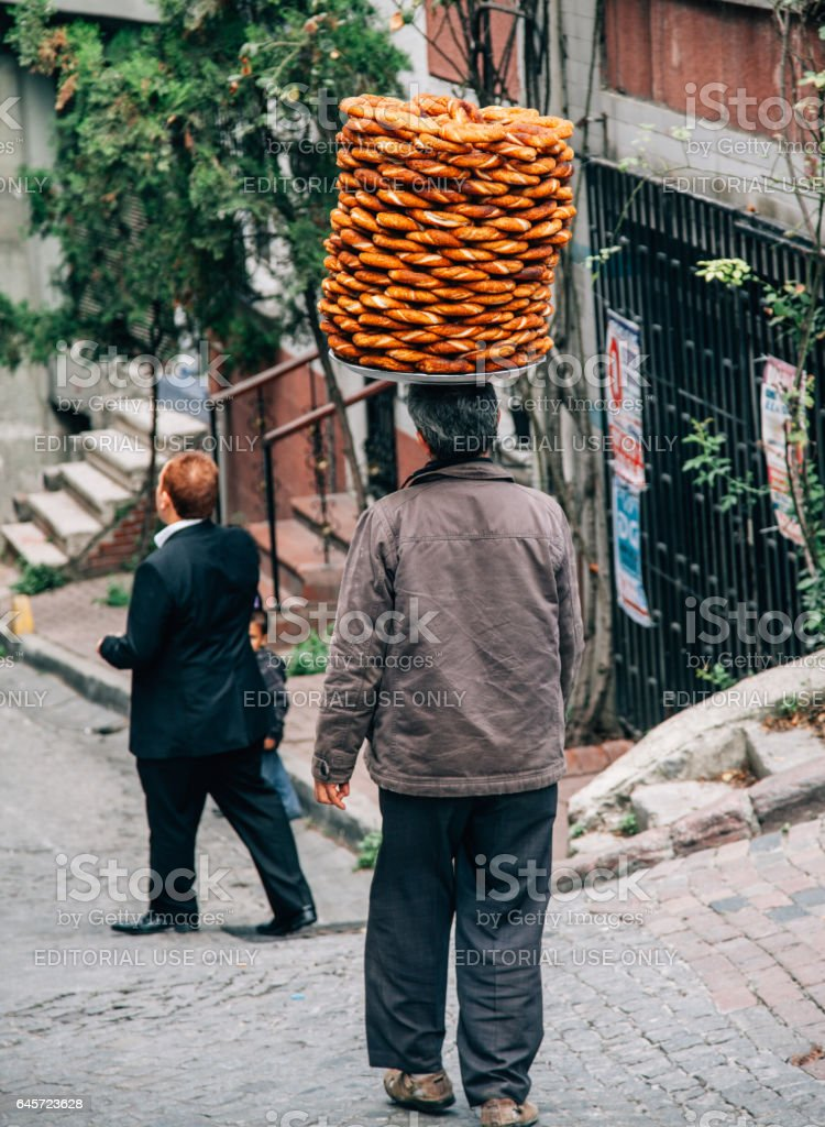 Vendor selling simit in Istanbul, Turkey stock photo