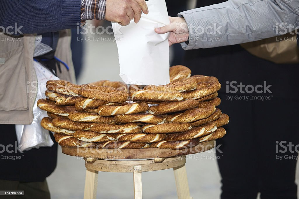 Vendor selling Turkish bread (simit) in Istanbul, Turkey. royalty-free stock photo