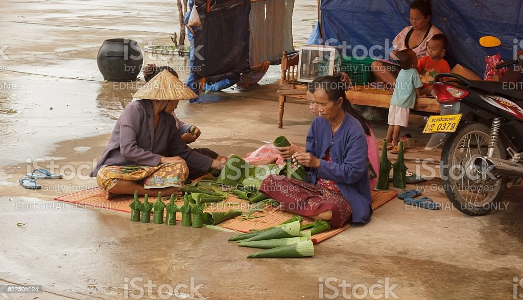 Vendors brought prepared flowers for sale stock photo
