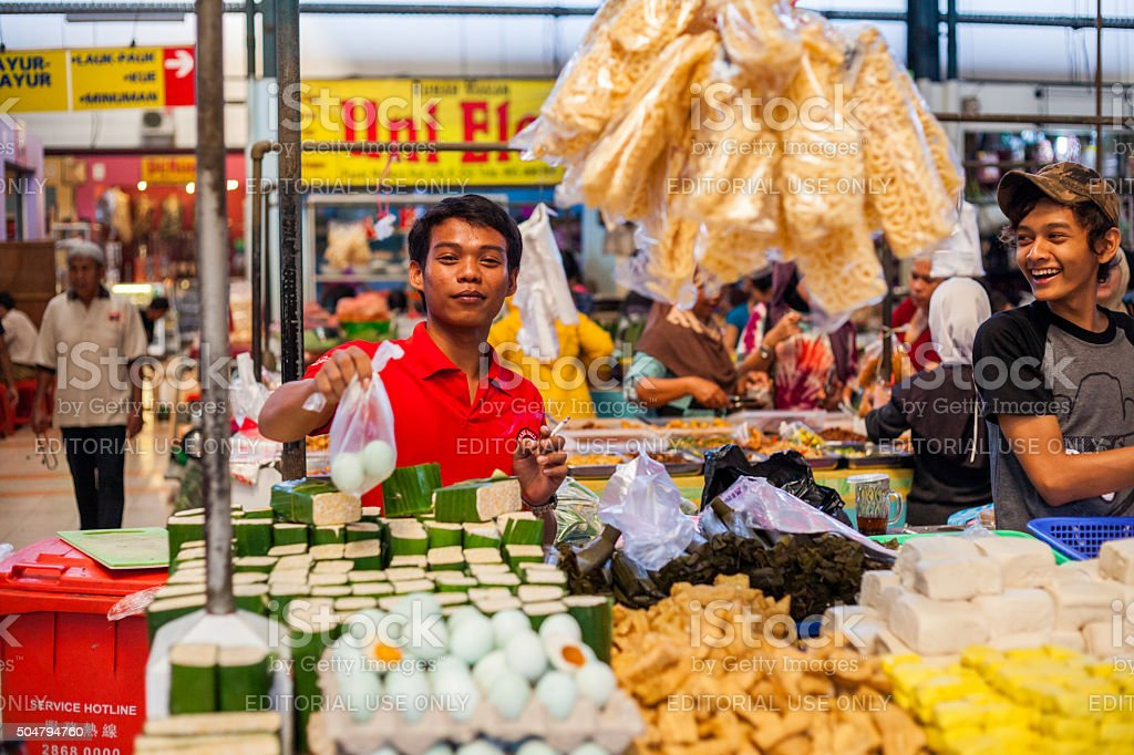Vendors in a market in Tangerang, Indonesia stock photo