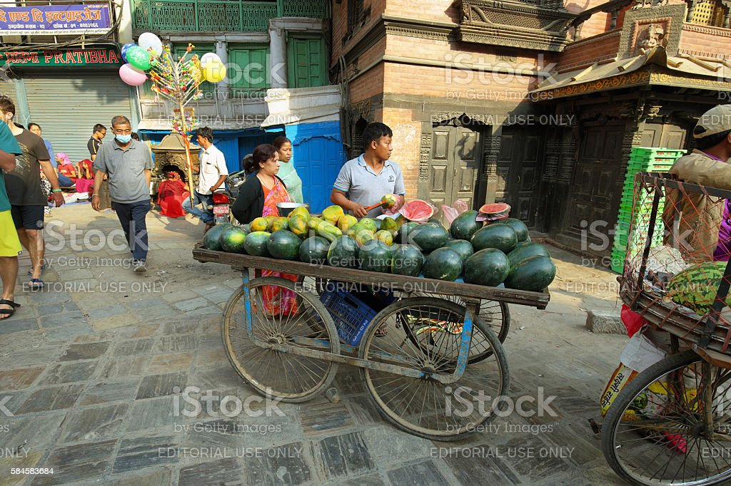 Vendors in the center of Kathmandu stock photo