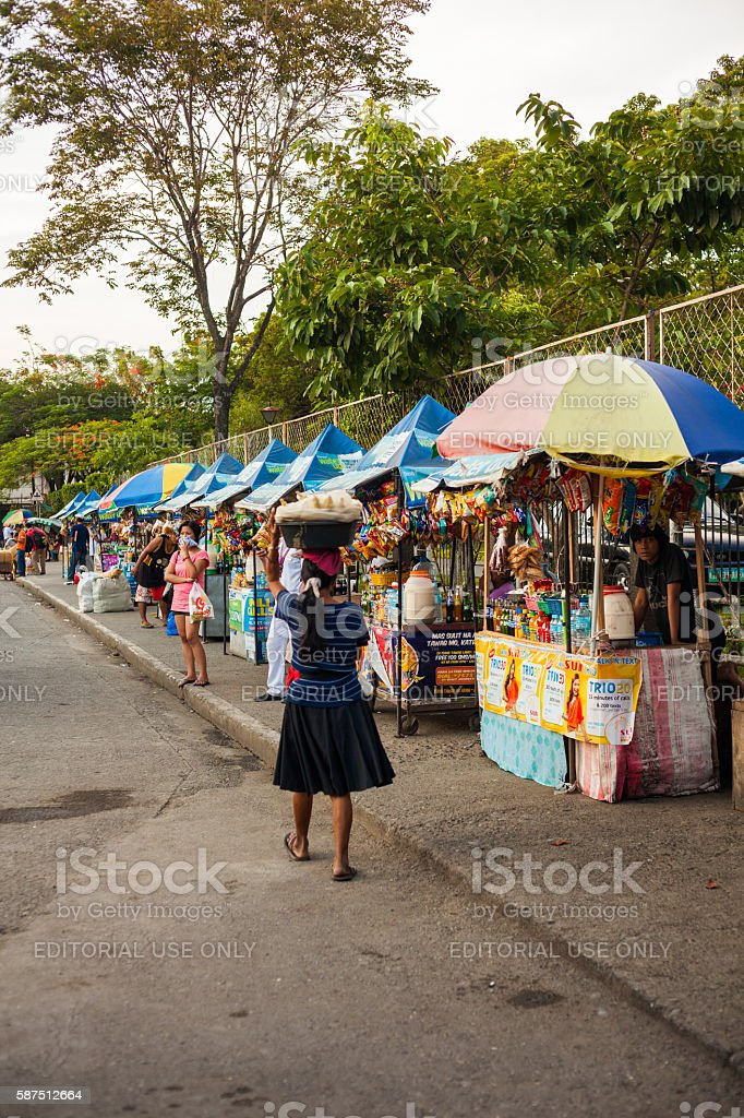 Vendors on the streets of Davao stock photo