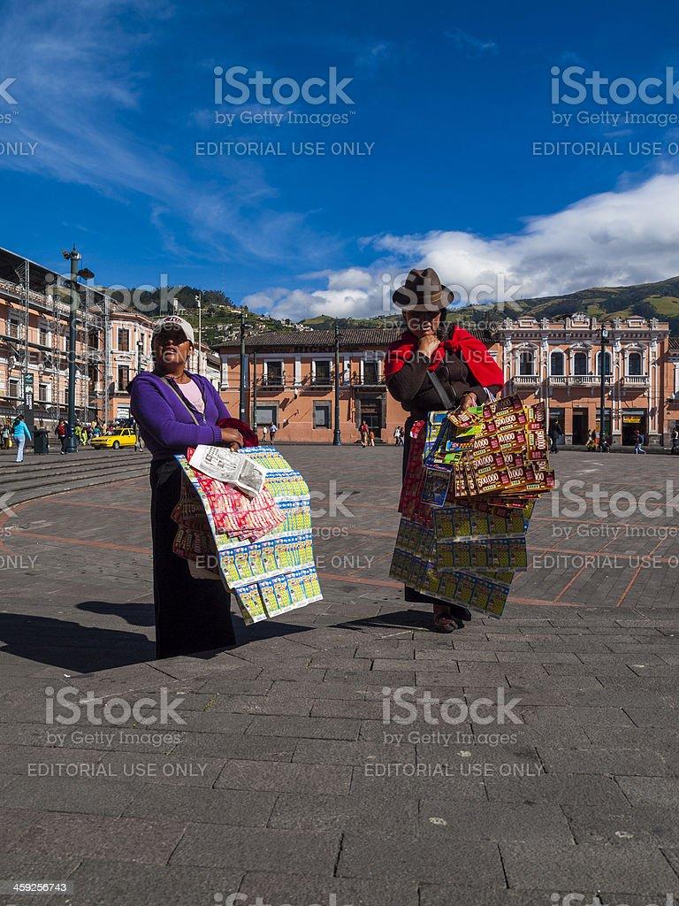 Vendors outside Church of Santo Domingo, Quito, Ecuador stock photo