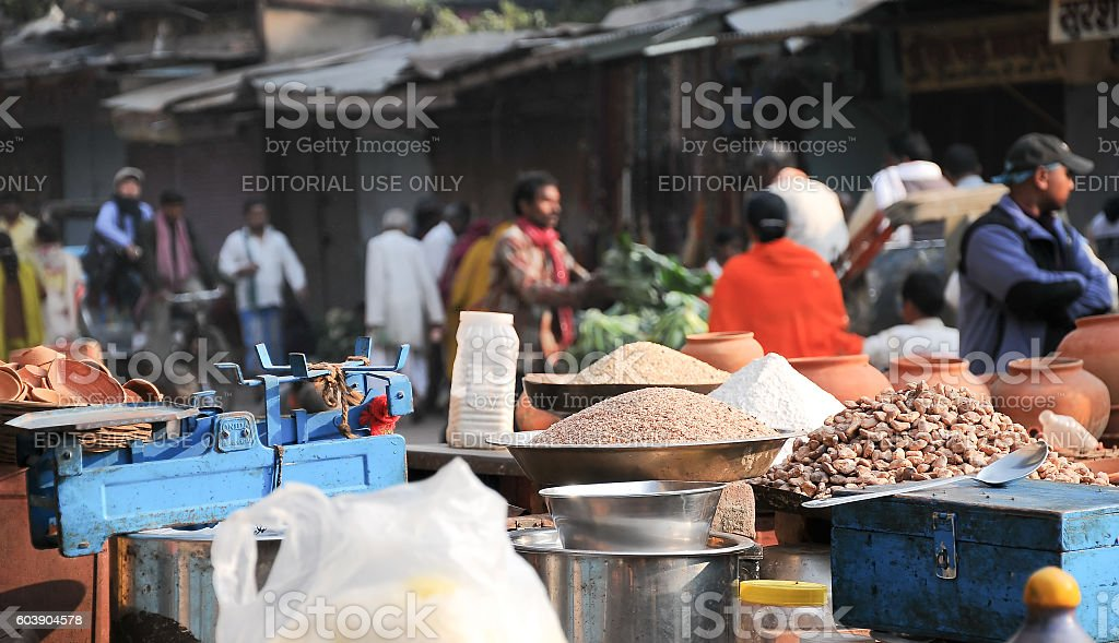 Vendors selling their products near Ganga river, Varanasi, India stock photo