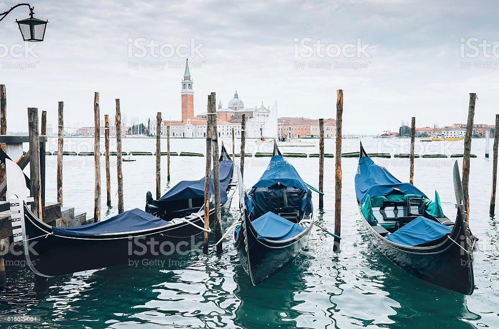 Venecian gondolas stock photo