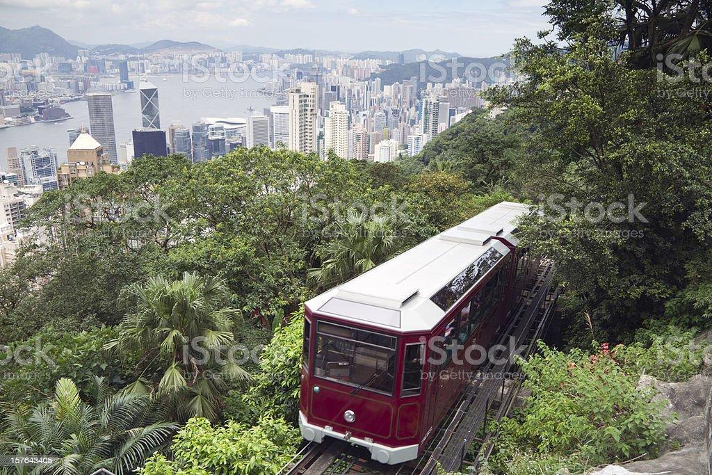Venerable Peak Tram in Hong Kong stock photo