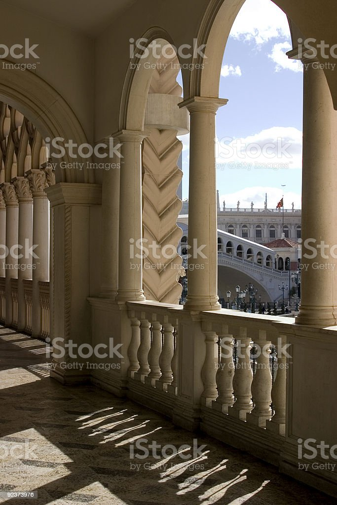 Venetian Balcony Columns and Arches in Las Vegas stock photo