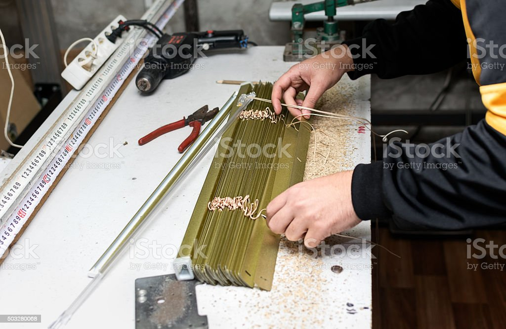 Venetian blind assembly stock photo