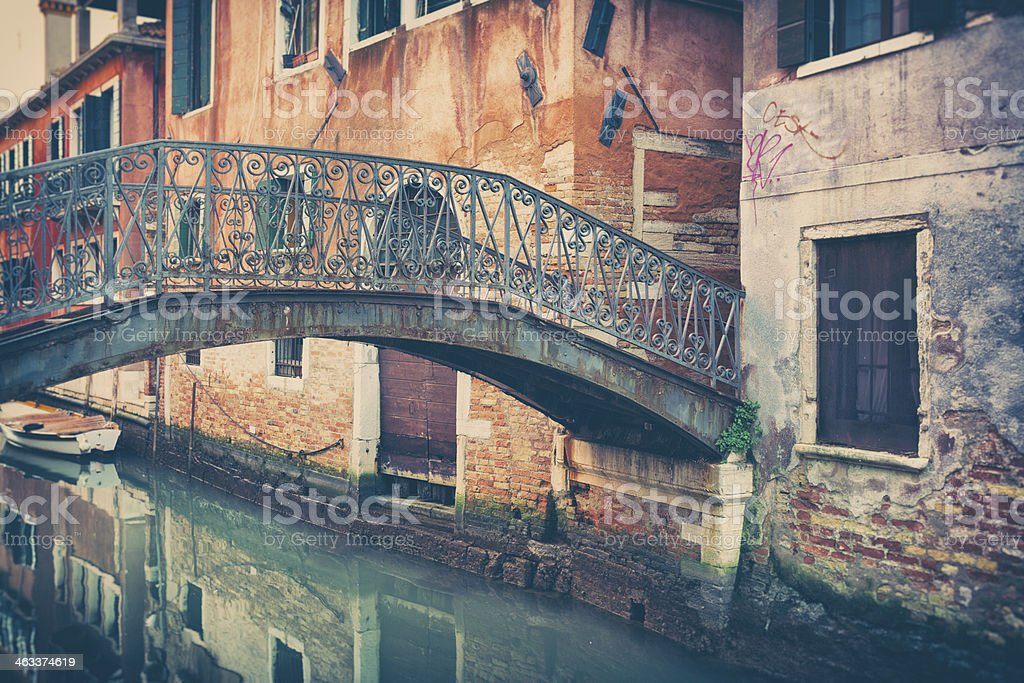 Venetian Bridge in Venice Over Canal royalty-free stock photo