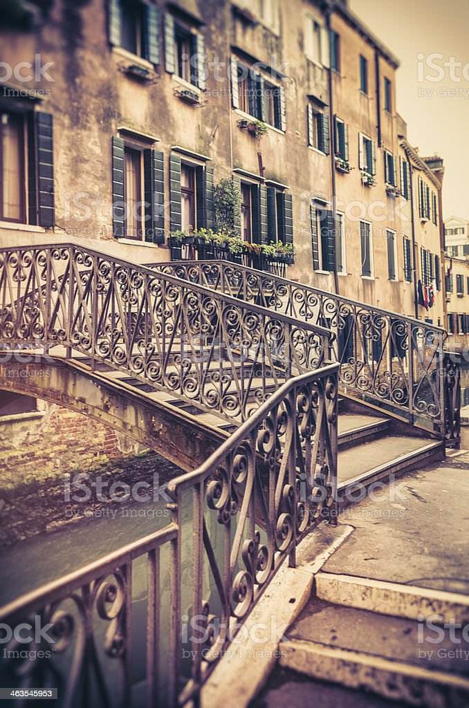 Venetian Bridge in Venice Over Canal royalty-free stock photo