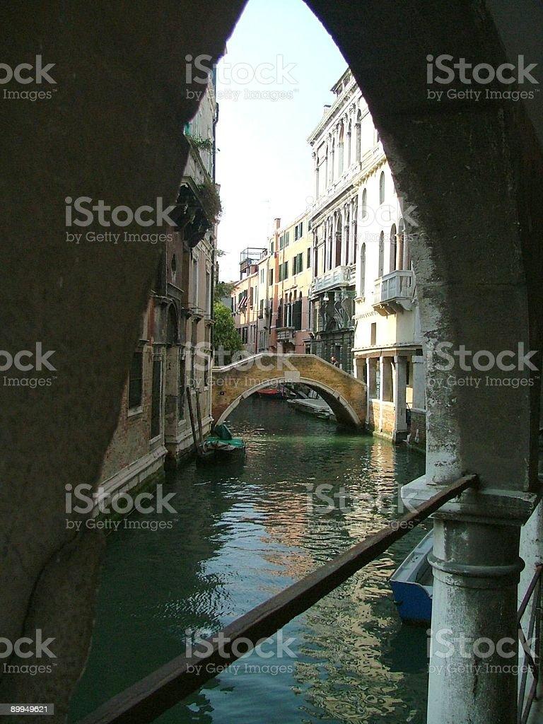 Venetian Bridge Through an Arch royalty-free stock photo