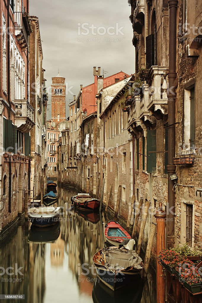 Venetian canal at dawn stock photo