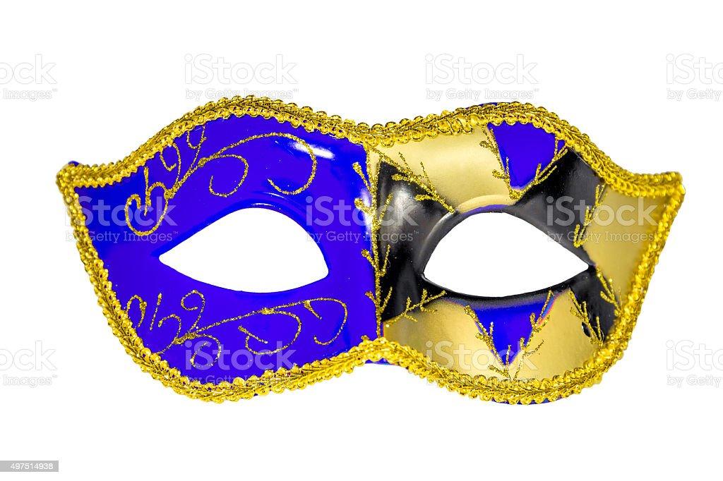 Venetian Carnival Mask blue yellow black patterned asymmetrical stock photo