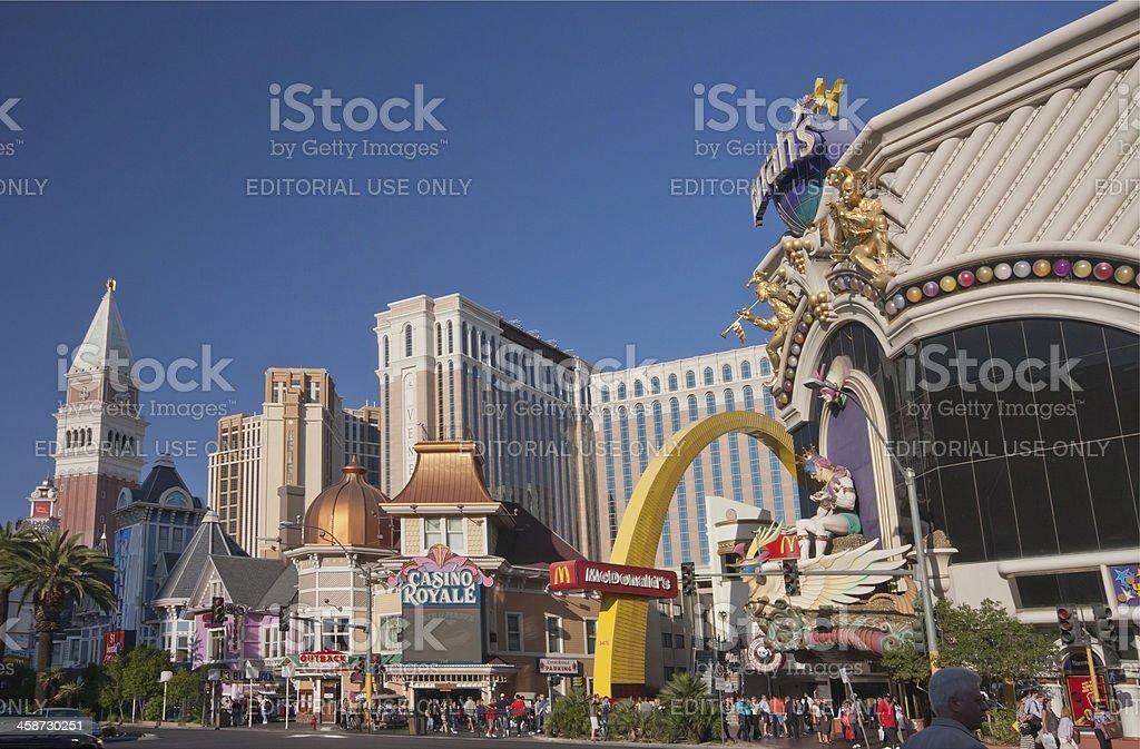 Venetian, Casino Royale and Harrah's hotels stock photo