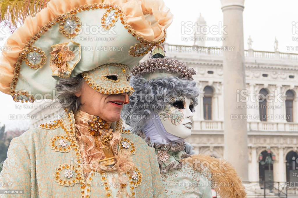 Venetian Couple in front of the Doge's Palace stock photo
