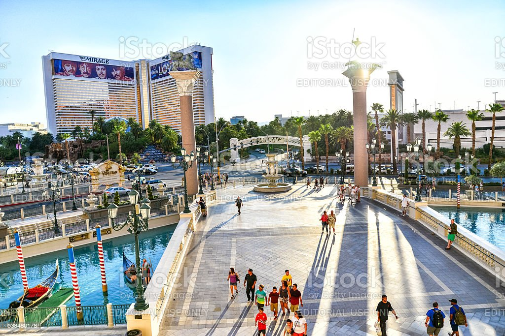 Venetian Courtyard and Canal off the Strip in Las Vegas stock photo