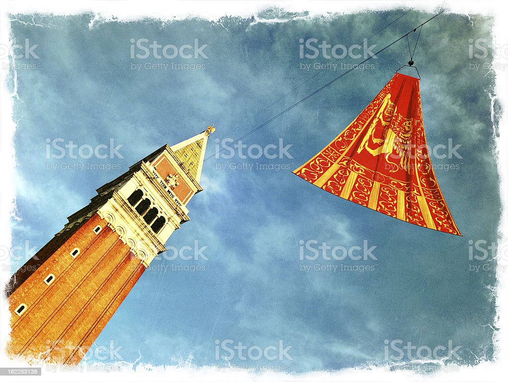Venetian Flag and Campanile End of Carnival Venice Italy royalty-free stock photo