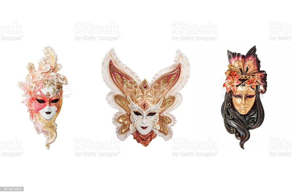 Venetian full-face masks for masquerade stock photo