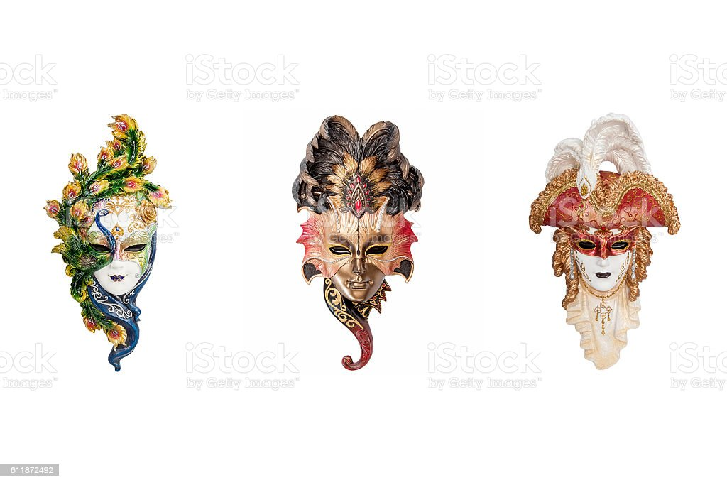 Venetian full-face masks for Venice Carnival stock photo