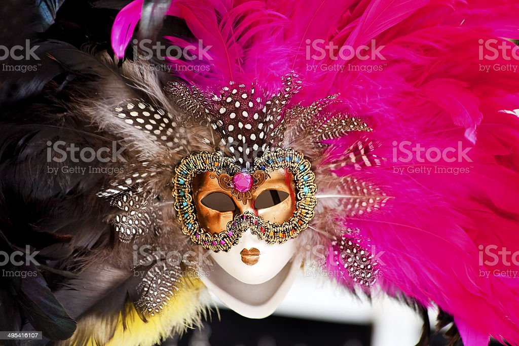 Venetian Gold Mask Pink Black Feathers Venice Italy stock photo