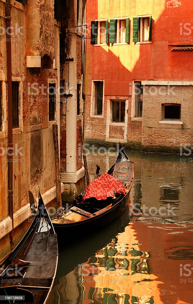 Venetian gondolas in the warm afternoon light royalty-free stock photo