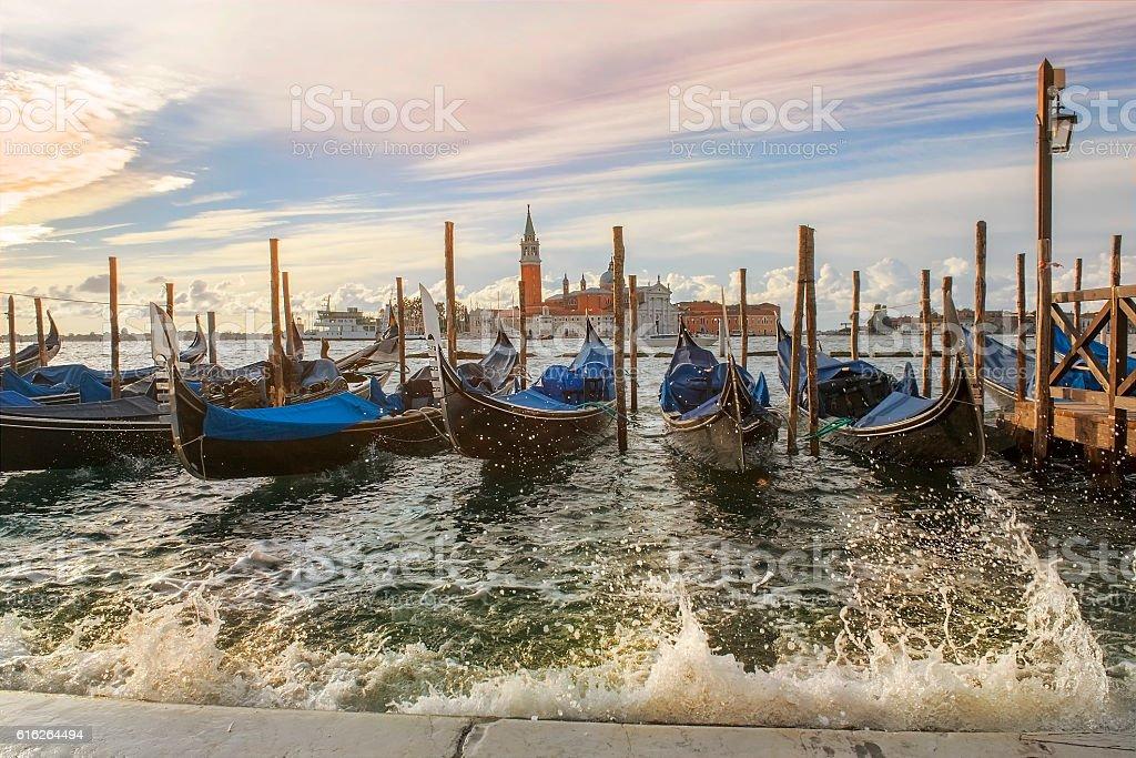 venetian gondolas in Venice stock photo