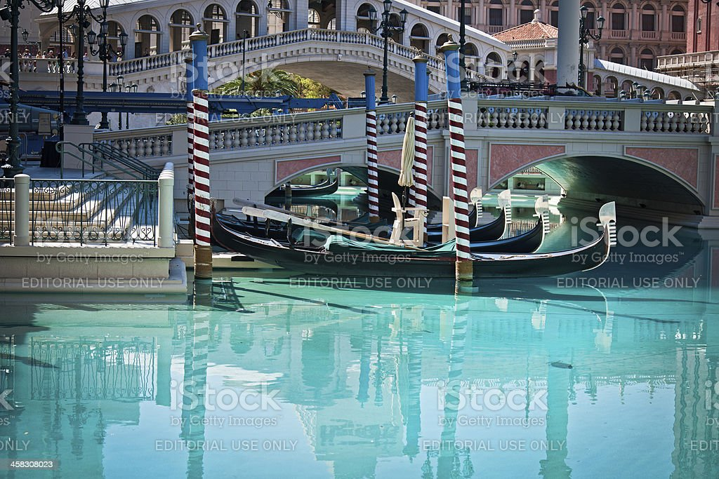 Venetian Gondolas under Rialto, Las Vegas, Nevada, USA royalty-free stock photo