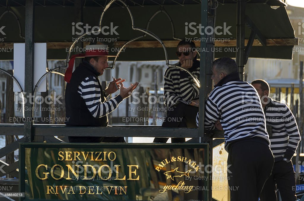 Venetian Gondoliers Waiting for Work royalty-free stock photo