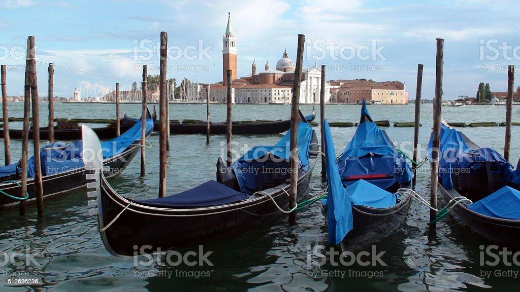 Venetian Lagoon And Gondolas In Italy Europe stock photo