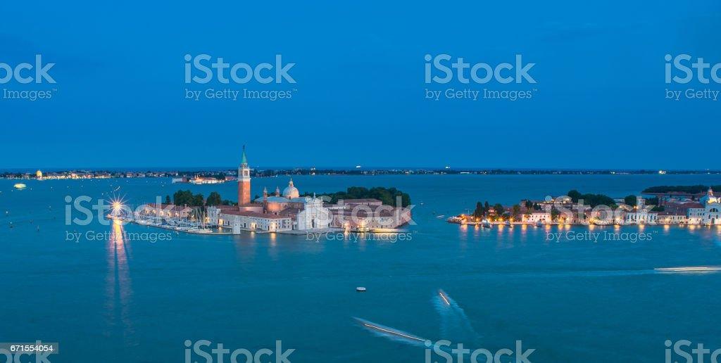 Venetian lagoon and San Giorgio Maggiore aerial view stock photo