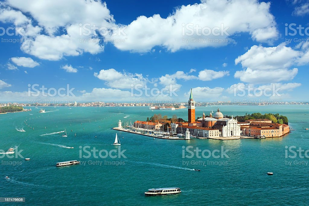 Venetian lagoon with ships and San Giorgio Maggiore aerial view royalty-free stock photo