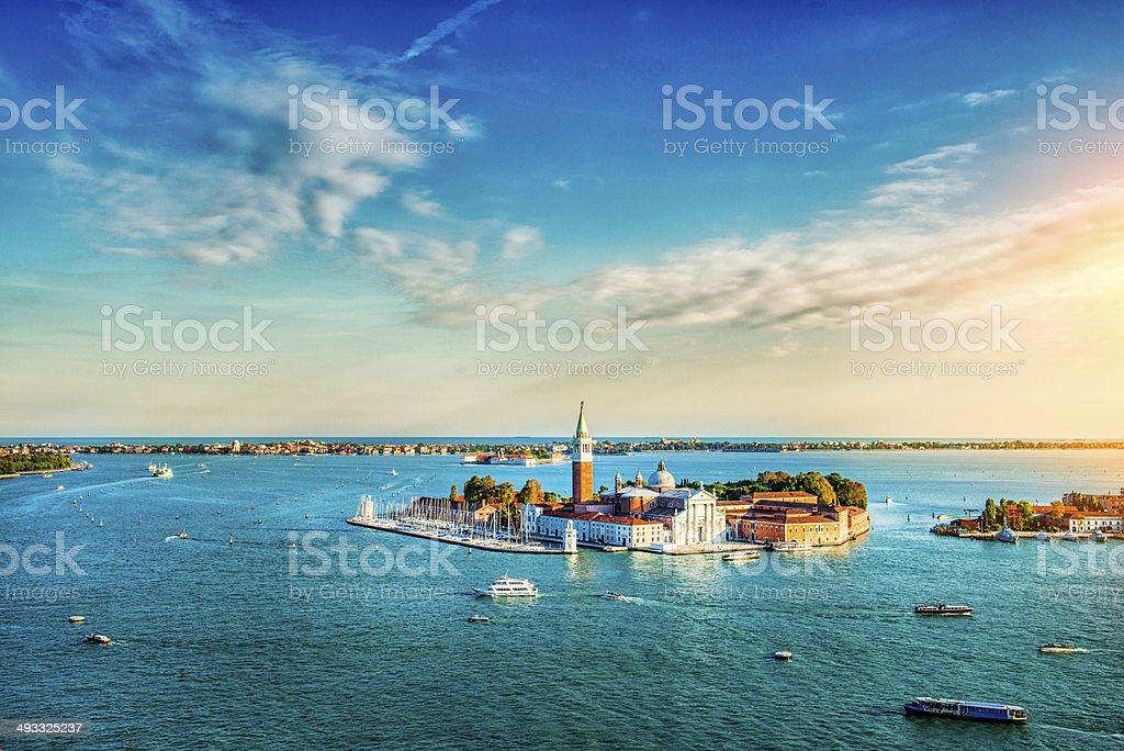 Venetian Lagoon with Ships and San Giorgio Maggiore at Sunset stock photo