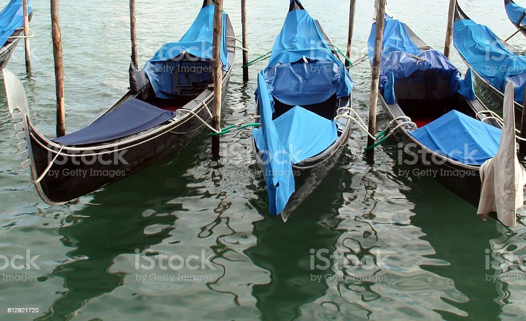 Venetian Lagoon,Gondolas In Italy Europe stock photo