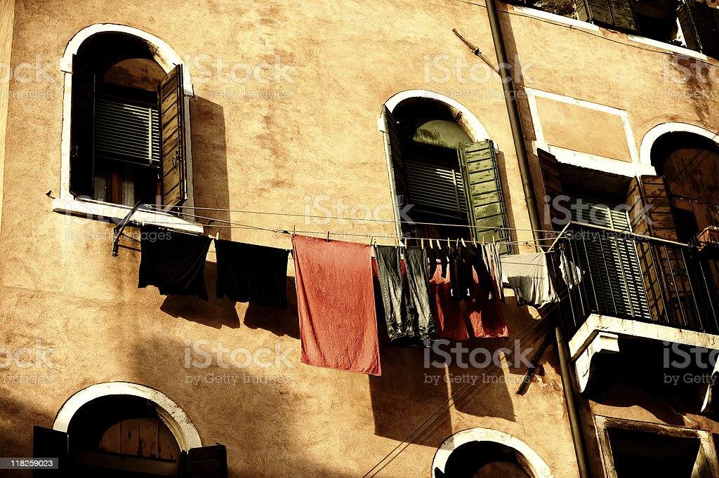 Venetian Laundry Drying on Window Line Venice Italy royalty-free stock photo