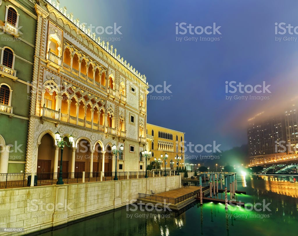 Venetian Macao Casino and Hotel luxury resort Macau light stock photo