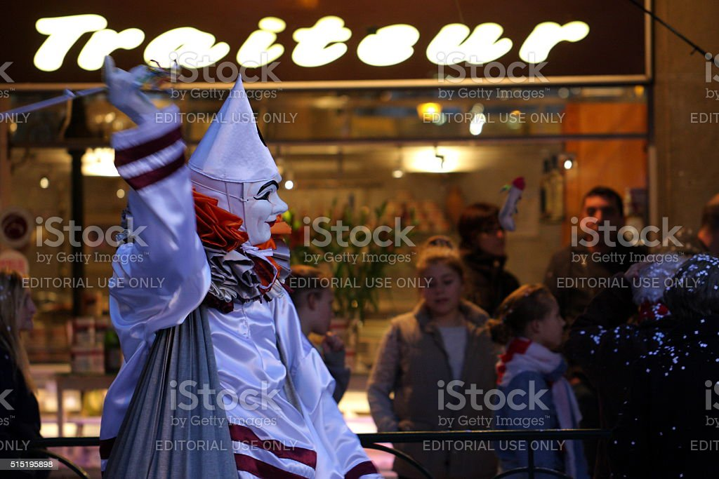 Venetian mask during carnival of Limoux in France. stock photo