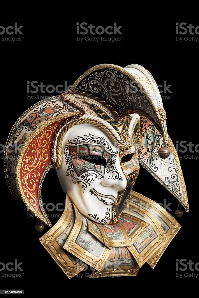 Venetian Mask Jester, Mardi Gras, Carnivale, Isolated on Black stock photo