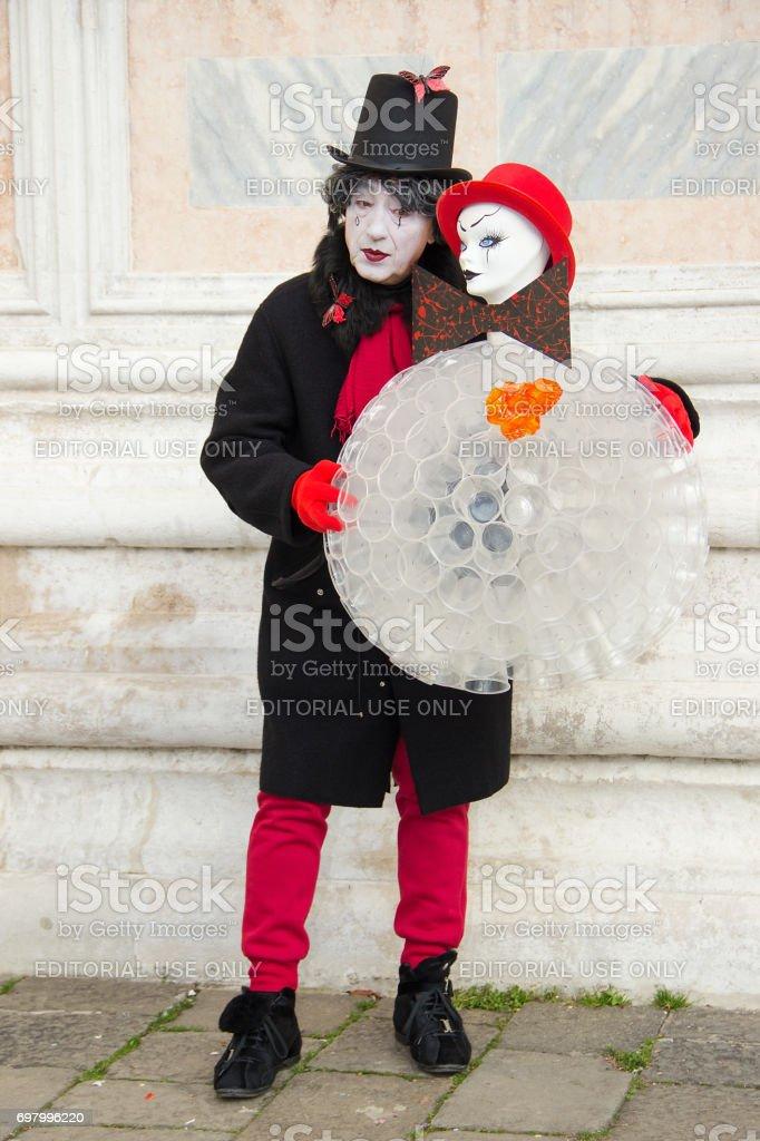 Venetian Mask of Male Pierrot on Venice Carnival stock photo