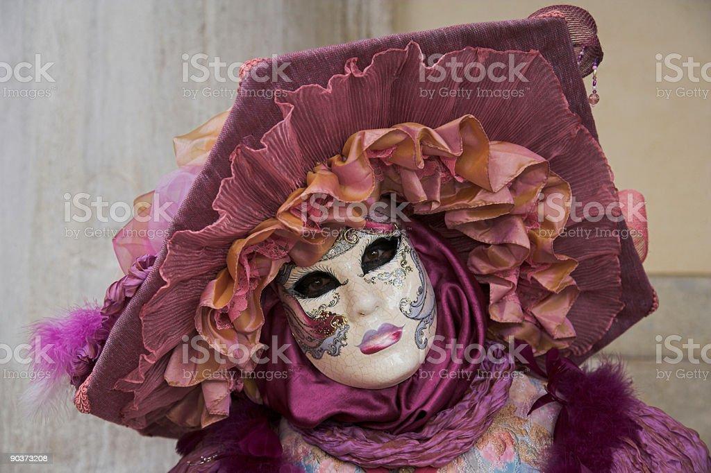 Venetian mask with beautiful purple hat (XXL) royalty-free stock photo