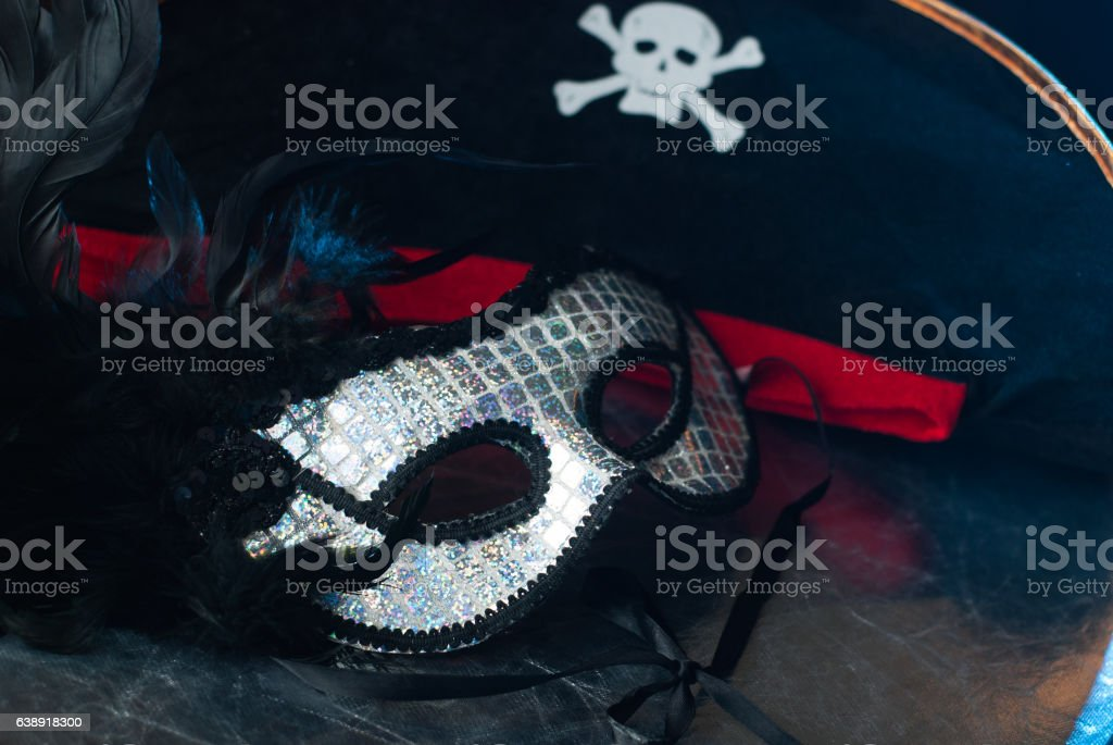 Venetian mask with black feathers, stock photo