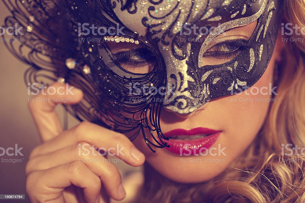 Venetian Masked Blonde stock photo