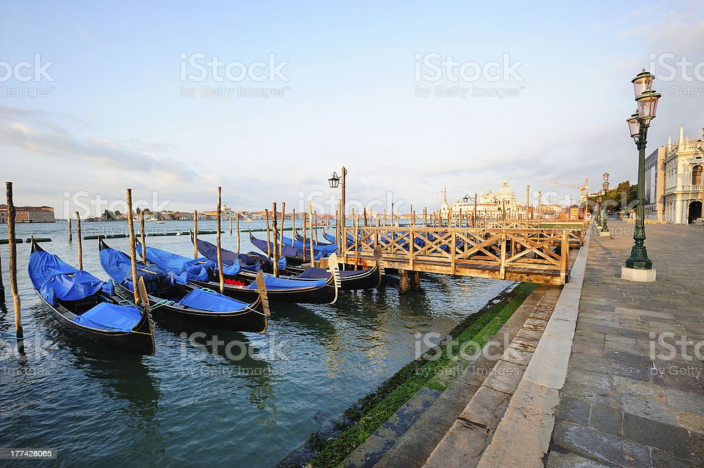 Venetian morning landscape with gondolas royalty-free stock photo
