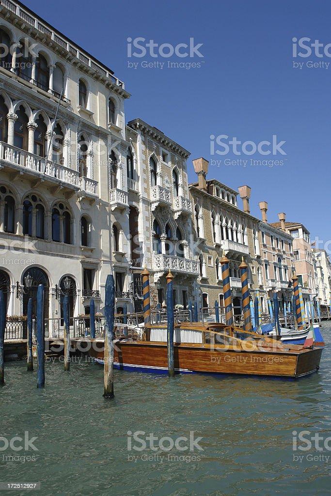 Venetian Motorboat Parking royalty-free stock photo