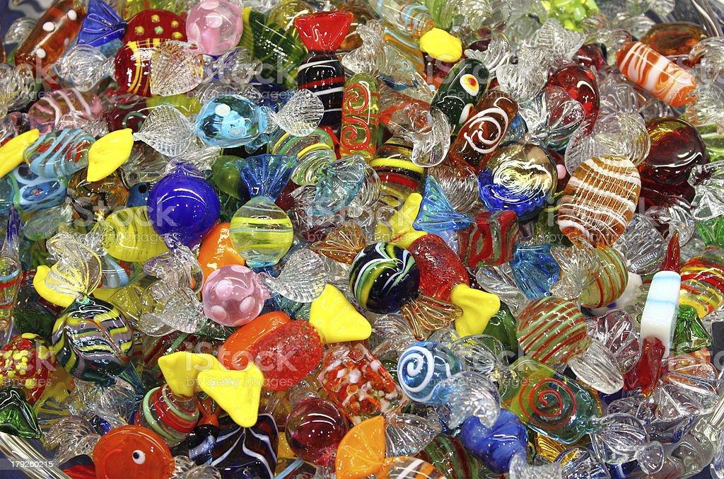 Venetian Murano glass sweets stock photo