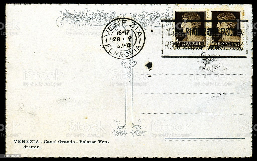 Venetian postcard with Stamp and Postmark royalty-free stock photo