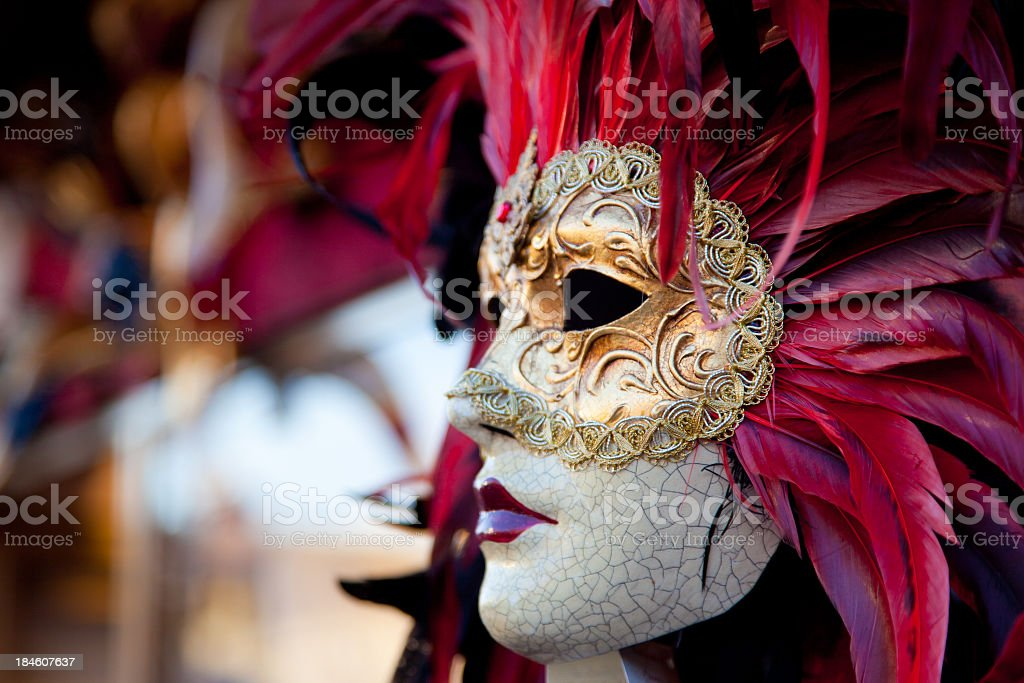 Venetian Red Carnival Mask, Venice, Italy stock photo